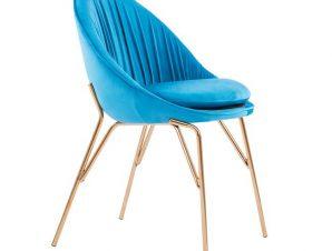 Καρέκλα Βελούδινη Μπλε Με Μεταλλικό Επίχρυσό Σκελετό 59x61x84,5εκ. Freebox FB98684.07 (Υλικό: Μεταλλικό, Ύφασμα: Βελούδο, Χρώμα: Μπλε) – Freebox – FB98684.07