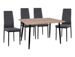 Σετ 5τμχ Τραπέζι Sonama 120x70x76,5εκ. & Καρέκλες Μεταλλικές Γκρι Με Μαύρο Ύφασμα Freebox FB911027.10 (Υλικό: Μεταλλικό, Χρώμα: Μαύρο) – Freebox – FB911027.10