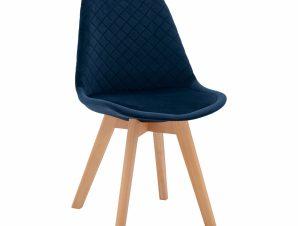 Καρέκλα Βελούδινη Μπλε Καπιτονέ Με Ξύλινα Πόδια 49x56x84Υεκ. Freebox FB98719.08 (Υλικό: Ξύλο, Ύφασμα: Βελούδο, Χρώμα: Μπλε) – Freebox – FB98719.08