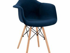 Πολυθρόνα Βελούδινη Μπλε Με Ξύλινα Πόδια 62x62x80Υεκ. Freebox FB98720.08 (Υλικό: Ξύλο, Ύφασμα: Βελούδο, Χρώμα: Μπλε) – Freebox – FB98720.08