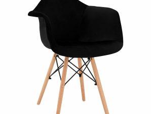 Πολυθρόνα Βελούδινη Μαύρη Με Ξύλινα Πόδια 62x62x80Υεκ. Freebox FB98720.04 (Υλικό: Ξύλο, Ύφασμα: Βελούδο, Χρώμα: Μαύρο) – Freebox – FB98720.04