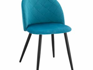 Καρέκλα Βελούδινη Τυρκουάζ Με Μεταλλικά Μαύρα Πόδια 49x57x79Υεκ. Freebox FB98731.08 (Υλικό: Μεταλλικό, Ύφασμα: Βελούδο, Χρώμα: Μαύρο) – Freebox – FB98731.08
