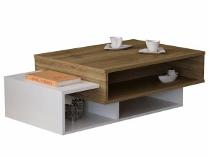 Τραπέζι Σαλονιού Μελαμίνης Λευκό-Καρυδί 105x60x32εκ. Freebox FB98869.01 (Υλικό: Μελαμίνη, Χρώμα: Λευκό) – Freebox – FB98869.01