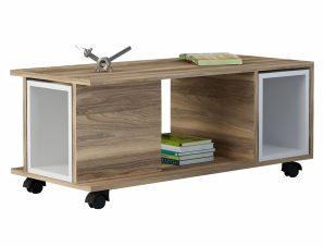 Τραπέζι Σαλονιού Μελαμίνης Καρυδί-Λευκό 100x45x44εκ. FB98870.01 (Υλικό: Μελαμίνη, Χρώμα: Λευκό) – Freebox – FB98870.01