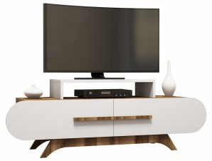 Έπιπλο Τηλεόρασης Μελαμίνης Καρυδί-Λευκό 145×36,8×49,8εκ. Freebox FB98898.01 (Υλικό: Μελαμίνη, Χρώμα: Λευκό) – Freebox – FB98898.01