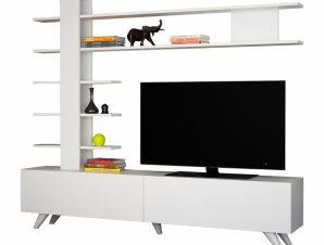 Σύνθετο Τηλεόρασης Μελαμίνης Λευκό 180×31,6×161,5εκ. Freebox FB98905.01 (Υλικό: Μελαμίνη, Χρώμα: Λευκό) – Freebox – FB98905.01