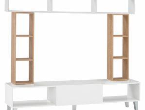 Σύνθεση Τηλεόρασης Μελαμίνης 181×31,6×39,6+90+25,6εκ. Λευκό-Sonama Freebox FB92253 (Υλικό: Μελαμίνη, Χρώμα: Λευκό) – Freebox – FB92253