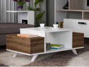 Τραπέζι Σαλονιού Μελαμίνης 90x60x43,8εκ. Καρυδί Με Λευκό Freebox FB98982.01 (Υλικό: Μελαμίνη, Χρώμα: Λευκό) – Freebox – FB98982.01