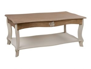 Τραπέζι Σαλονιού Ξύλινο Εκρού-Καφέ Πατίνα 110x53x46εκ. Freebox FB97013.01 (Υλικό: Ξύλο, Χρώμα: Εκρού ) – Freebox – FB97013.01