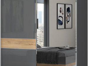 Ντουλάπα συρόμενη δίφυλλη Agate 180 με καθρέπτη