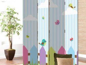 Χρωματιστά Πουλάκια Παιδικά Παραβάν 80×180 cm [Δίφυλλο]