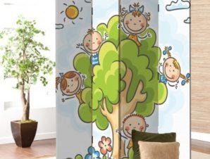 Παιδάκια σε δέντρο Παιδικά Παραβάν 80×180 cm [Δίφυλλο]