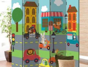 Αυτοκινητάκια Παιδικά Παραβάν 80×180 cm [Δίφυλλο]