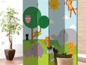 Ζώα στην Ζούγκλα Παιδικά Παραβάν 80×180 cm [Δίφυλλο]