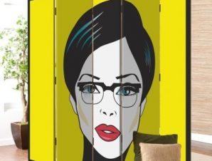 Πορτρέτο Γυναίκας Κόμικς Παραβάν 80×180 cm [Δίφυλλο]