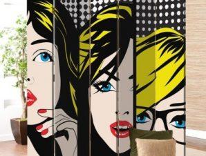 Pop art Πρόσωπα Κόμικς Παραβάν 80×180 cm [Δίφυλλο]