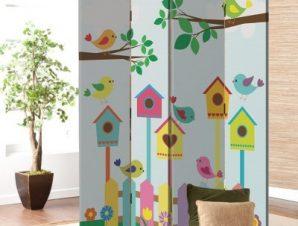 Πολύχρωμα κλουβιά πουλιών Παιδικά Παραβάν 80×180 cm [Δίφυλλο]